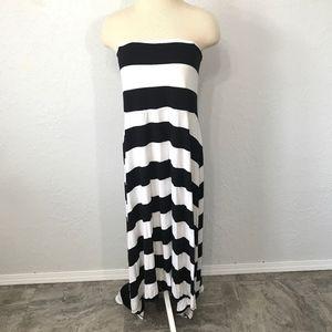 Lane Bryant Black White Striped Strapless Dress